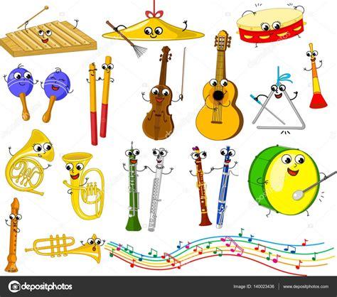imagenes musicales animadas conjunto de instrumentos musicales divertidos dibujos