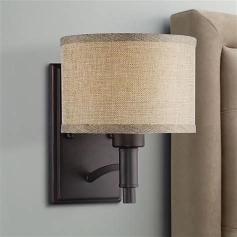 Wall Sconce Shades Linen la pointe 9 quot high oatmeal linen shade wall sconce 6g566