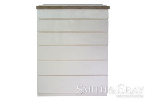 White Gloss Chest Of Drawers by White Gloss Chest Of Drawers With Timber Top Smith Gray