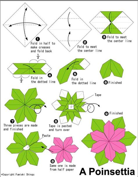 Folding Origami - how to fold an origami flower poinsettia origami paper