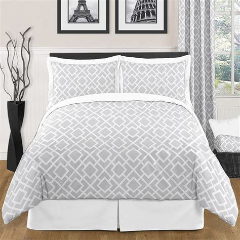 gray and white comforter sets queen sweet jojo designs grey white diamond 3 piece full queen