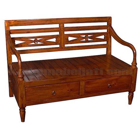 Bangku Laci Pandan Jati Tempat Duduk Mebel Jepara Furniture bangku kayu jati model klasik 2 laci buatan jepara