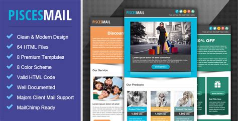 email template for marketing caign piscesmail email newsletter template by pophonic
