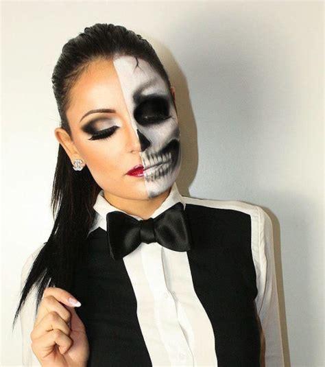 como pintar la cara para halloween maquillaje halloween media cara tutorial con el paso a