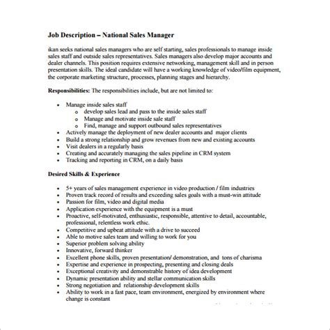 sales manager description template 11 free word pdf format free premium