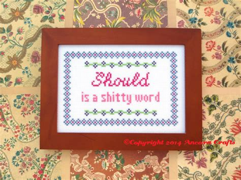 cross stitch pattern for words should is a bad word cross stitch pattern ancora