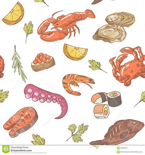 seamless pattern hand drawn seafood sea food hand drawn seamless pattern background with