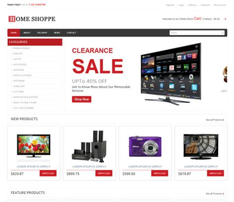 home shoppe online shopping cart mobile website template