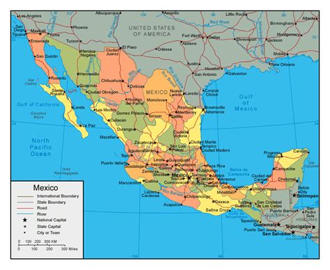 map of mexico major cities political and administrative map of mexico with major