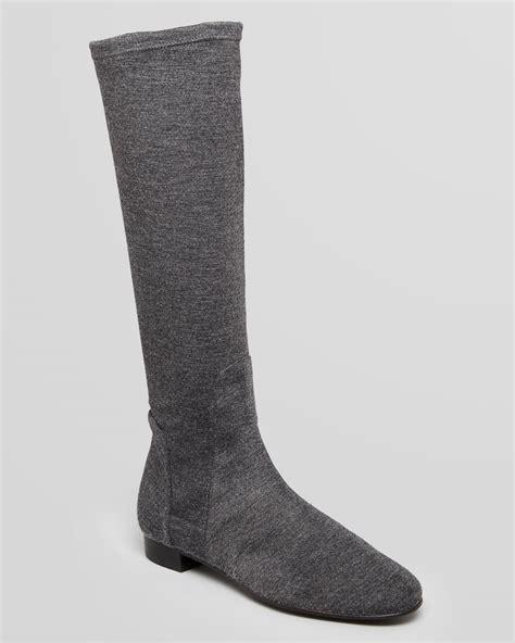 delman flat boots meg stretch flannel in gray gray