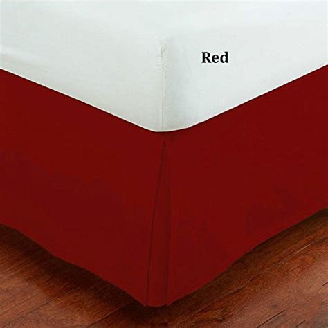 red bed skirt fancy collection queen size easy care tailored microfiber