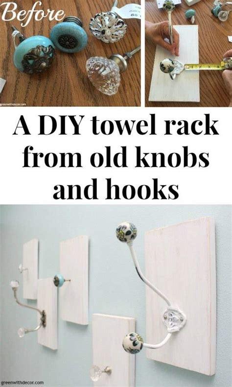 green  decor  diy towel rack   knobs  hooks