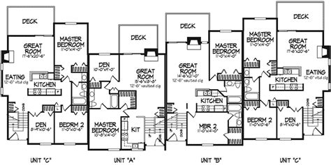 modern multi family house plans barcino modern fourplex plan 072d 0170 house plans and more