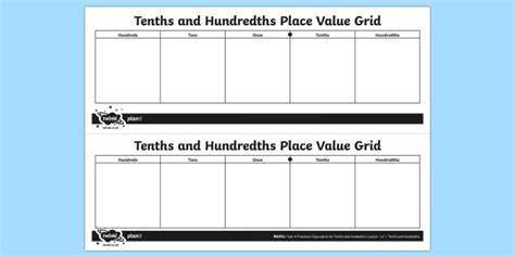 Tenths And Hundredths Place Value Grid Year 4 Four Y4