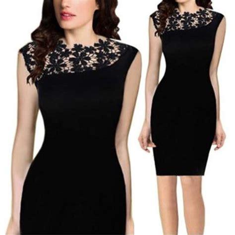 Dress Pesta Mini Lace Black Hitam Import M Limited 1 new lace sleeveless bodycon cocktail evening mini dress ebay