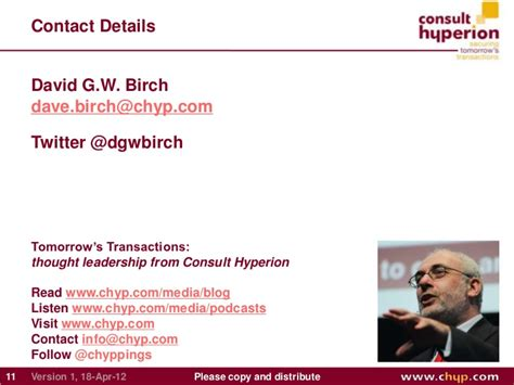 David Birch Presents Mobile Payments