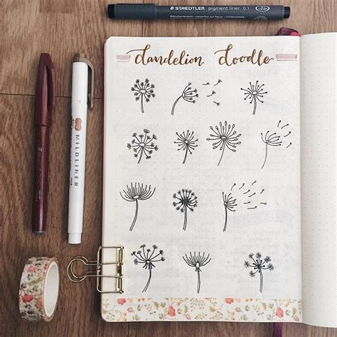 Drawing Journal Ideas by Bullet Journal Dandelion Drawing Ideas Evasbujo