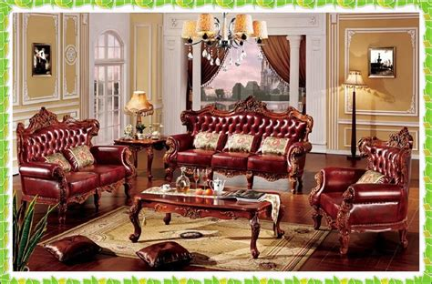 Antique Style Living Room Furniture by Luxury Cow Leather Set Sofa Antique Noblility Living Room