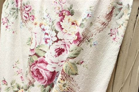 cabbage rose fabric curtains romantic 1930s pink cabbage rose vintage floral barkcloth