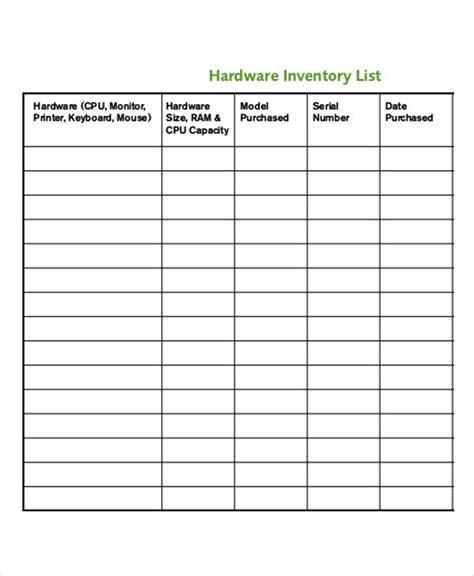 hardware inventory template it inventory templates 9 free word pdf format