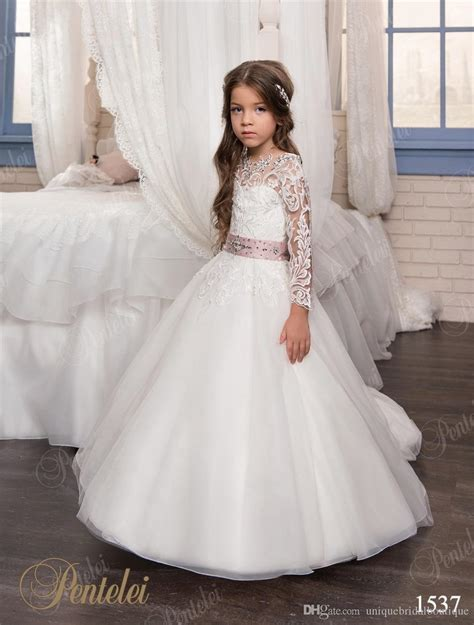 Communion Dresses For Girls 2017 Pentelei With Long Sleeves And Beaded Sash Appliques Organza