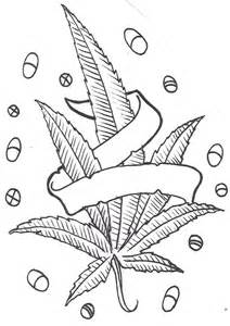 Pot Leaf And Pills Tattoo Design Weed With Banner  sketch template