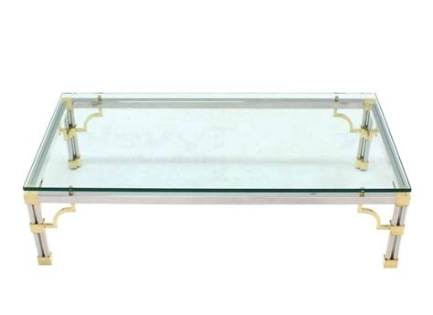 heavy thick glass brass and chrome coffee table for sale