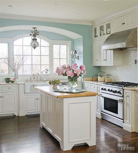 create a serene kitchen setting with a light and cheery hue inspired by the sky this airy