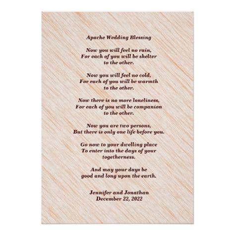 Apache Wedding Blessing by Apache Wedding Blessing 20x28 Glossy Posters Zazzle
