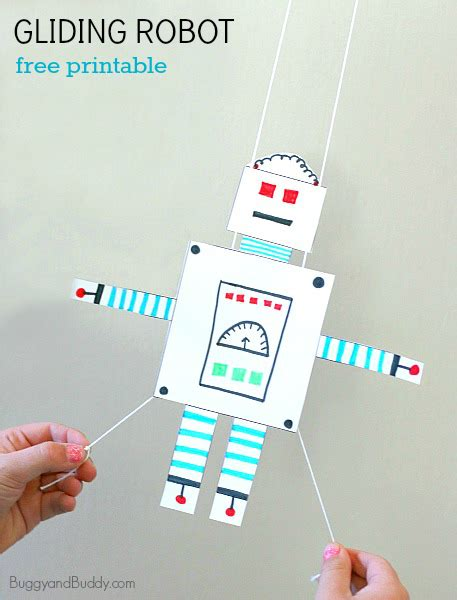 robot craft for stem activity for free printable gliding robot