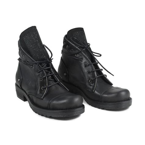 lace up biker lace up biker boots black with strass made in italy