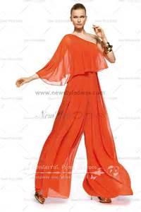 One Shoulder Draped Dresses Orange One Shoulder Modren Pants Sets Empire Prom Dress