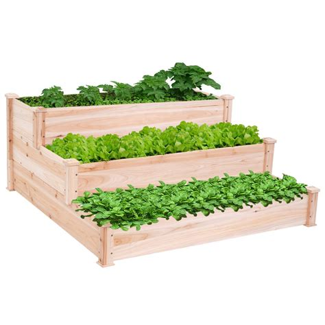 Vegetable Planters Wooden by Outdoor Wooden Raised Vegetable Garden Bed 3 Tier Elevated