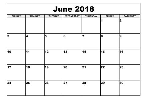 printable june 2018 calendar june 2018 calendar free printable template download free