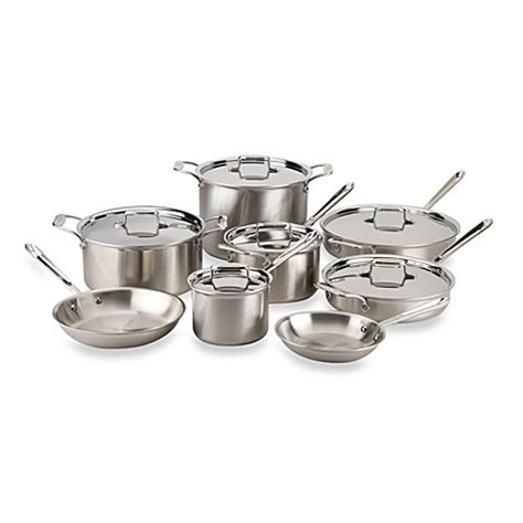 bed bath and beyond wok all clad d5 brushed stainless steel 14 piece cookware set
