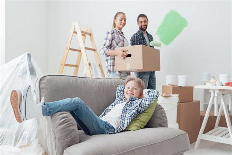 Painting Apartment Before Moving Family Moving Into A New Apartment Stock Image Image