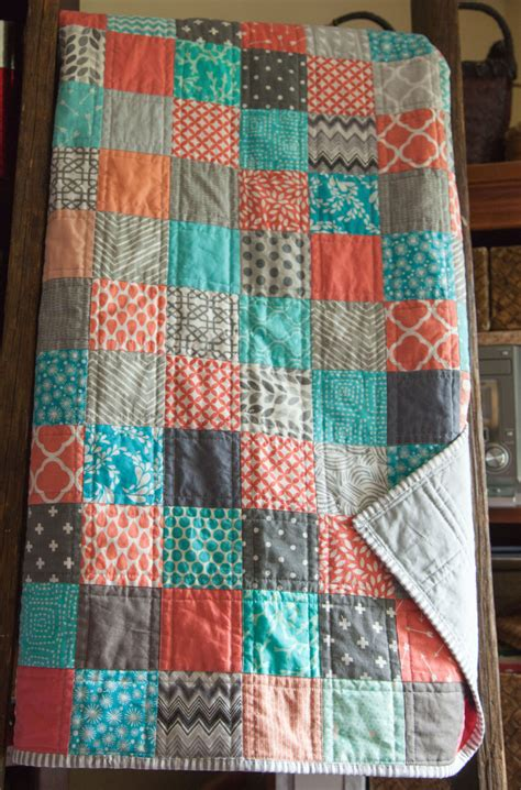 Handmade Patchwork Quilt - modern handmade baby patchwork quilt in coral blues and