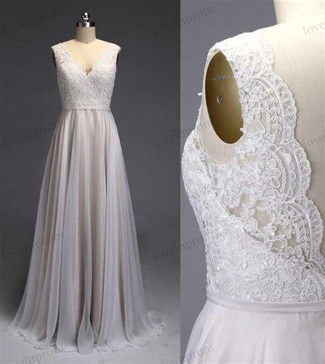 Handmade Wedding Gown - ivory lace wedding dress v back open bridal gown chiffon