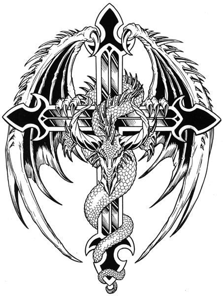 dragon with cross tattoo cross tattoos tumb tattoos zone tattoos designs