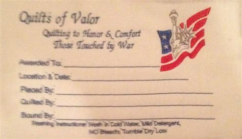 Quilt Of Valor Label by Labels For Quilts Of Valor