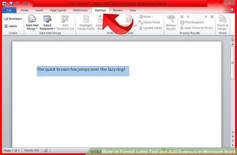 how to format label text and add graphics in microsoft word