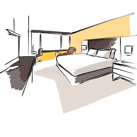 layout quarto hotel interior hotel room concept sketch layout stock vector
