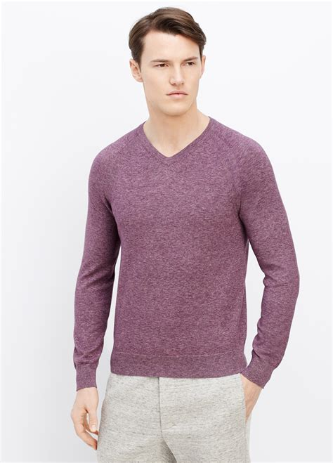 Sweater V Neck Cotton Rajut Halus 24 lyst vince cotton v neck sweater in purple for