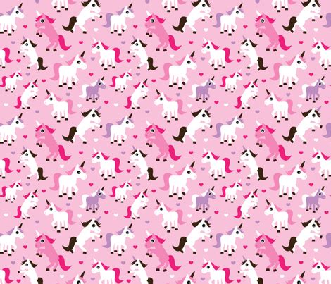 unicorn pattern background pink unicorn girl fabric fabric by littlesmilemakers on