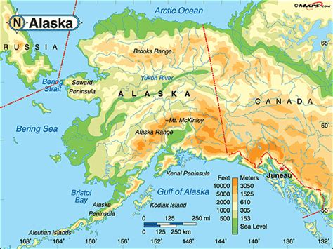 physical map alaska alaska physical map by maps from maps world s