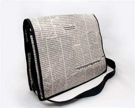 Nes Messenger Bag by Recycled Newspaper Messenger Bag Fair Trade