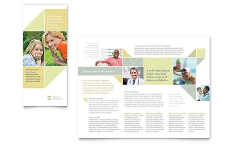 Insurance Information Brochure Outline by Health Insurance Tri Fold Brochure Template Design