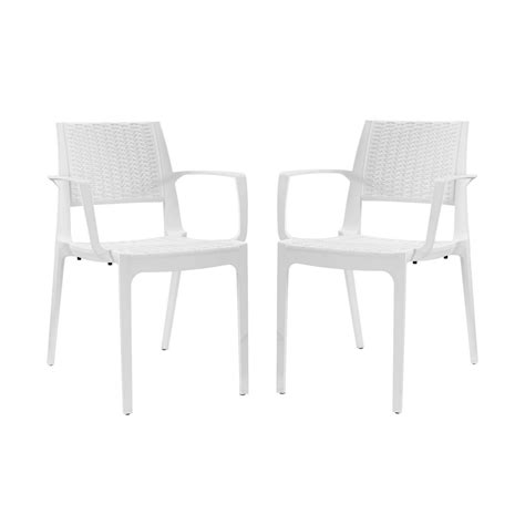 White Patterned Dining Chairs | set of 2 astute durable criss cross patterned dining