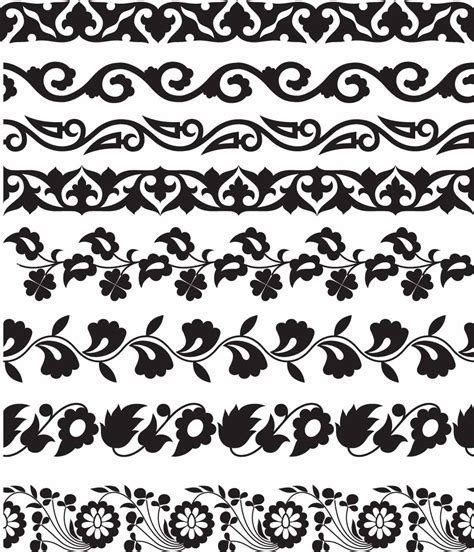 flower pattern vector border floral seamless borders set vector free download