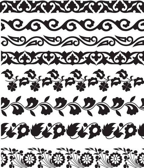 border pattern motif floral seamless borders set vector free download